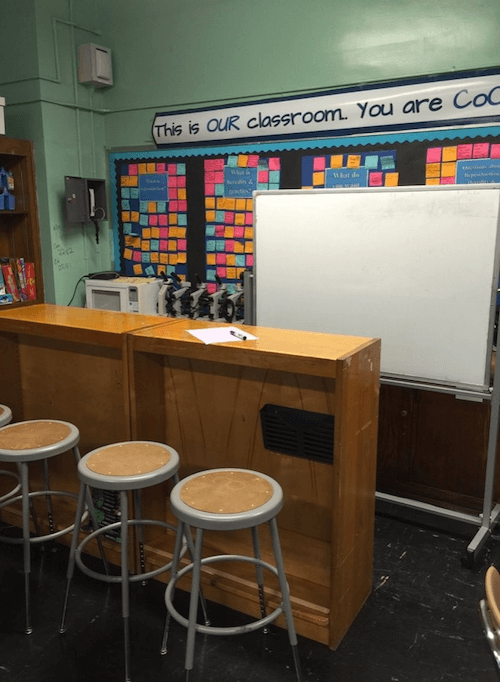 One of my favorite classroom hacks: the student work bar. By removing shelves from an old bookshelves, we've opened the postures available to students. Starbucks, anyone?