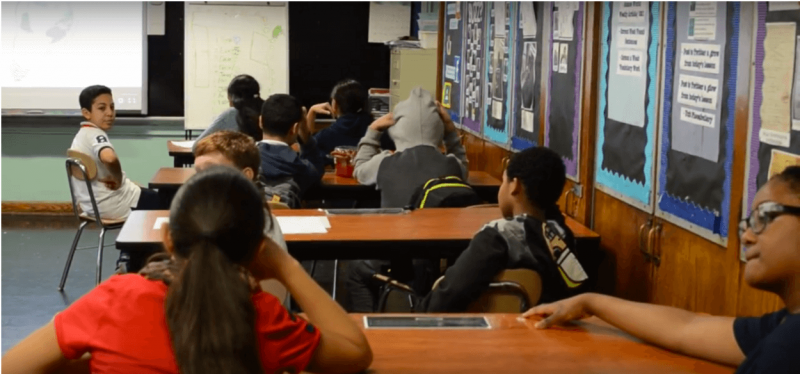 A static classroom environment traditionally found in NYC public schools.